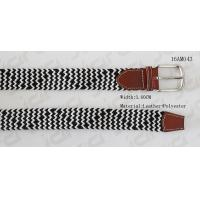 China Black & White Braided Elastic Mens Stretch Belts With Leather Part In 3.6cm Width supplier