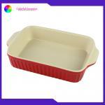 Daily Usage Ceramic Baking Tray , Double Handles Rectangular Baking Plate Bake for sale