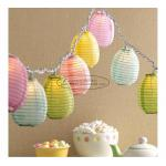 Blue green yellow egg shape Paper Lantern String Lights easter baby shower decoration for sale