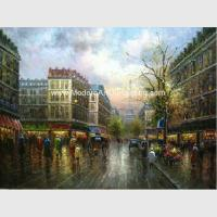 China Thick Oil Colorful Paris Painting , Impressionism Wall Art Paris Street Living Room Deco for sale