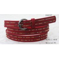 China Mixed Colors Mushroom Metal Studs Wide Waist Belt With Red PU For Women for sale