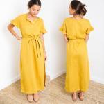 China Paloma Mustard Short Sleeve Button Down Slit Maxi Linen Dress for sale