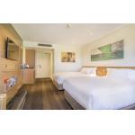 Durable Modern Hotel Bedroom Furniture Twin Bed Wood Veneer Fashionable for sale