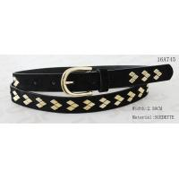 China Fake Suede Ladies Fashion Belts Ln Gold Color Of Rhombus Shape Metal & Buckle for sale