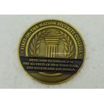 Antique Gold University Personalized Coins , Brass Stamped Soft Enamel Military Challenge Coin for sale