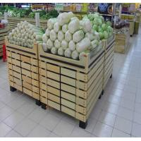 Bottomless Wooden Retail Display Shelves / Fruit Vegetable Wooden Shop Shelving For Store for sale