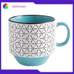 Round Handmade Stoneware Mugs , Personalized Silkscreen Coffee Mugs Dinnerware Set for sale