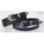 China Crocodile PU In Black / Navy Womens Fashion Belts With Silver Metal Loop & Metal Tip for sale