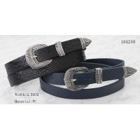 China Crocodile PU In Black / Navy Womens Fashion Belts With Silver Metal Loop & Metal Tip supplier