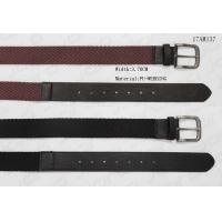 Wave Surface Black / Red Polyester Webbing Belt With PU Tip , 3.7cm Width for sale