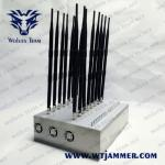 China 18 antennas Cell Phone Signal Jammer Wifi 2.4g/5.2g/5.8g GPS UHF VHF 315/433MHz Signal Jammer with  Cooling System for sale