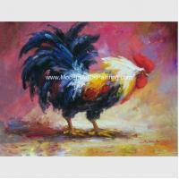 Acrylic  Animal  Palette Knife Oil Painting Handmade Cock Thick Oil On Canvas for sale