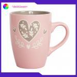 China Silkscreen 340ml Handmade Stoneware Mugs Ceramic Coffee Cup Valentine's Day Gift for sale