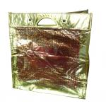 Eco friendly golden lamination non woven carry bag with metal handle