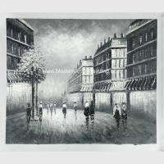 China Classic Oil Painting Paris Black And White ,Palette Knife Landscape Painting Linen Canvas for sale