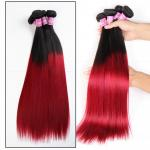 China Soft 7A Ombre Brazilian Virgin Hair 1B / Red Ombre Straight Hair 3 Bundles For Adult for sale