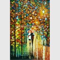 Handmade knife art painting on Canvas Colourful Night View for Wall Decoration for sale