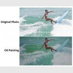 China Realistic Custom Oil Painting Portraits Surf Lady Sports Oil Paintings From Picture for sale
