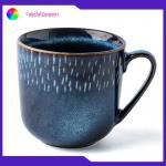 China Household Drinking Promotional Ceramic Coffee Mugs Blue Creative Glaze for sale