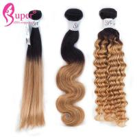 12 Inch Russian Deep Wave Blonde Ombre In Brown Hair Bundle Extensions for sale