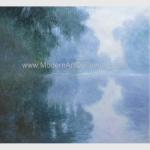 China Green Claude Monet Oil Paintings Reproduction Misty Morning on the Seine for sale