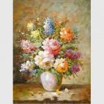 China Abstract Floral Still Life Oil Paintings Colorful Flowers Vase Canvas Painting for sale