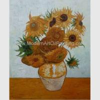 China Countryside Vincent Van Gogh Oil Paintings Sunflowers with Vienna Gold Leaf 20 x 24 inches for sale