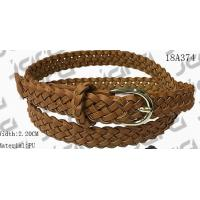 China Tan / Black / Brown PU Womens Braided Belt , Ladies Braided Belts With Gold Buckle for sale