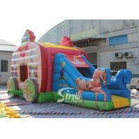 Kids Pink Princess Carriage Inflatable Bouncy Castle Slide With Lead Free Material for sale