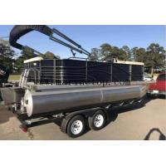 China 19ft /25ft Aluminum Fishing Pontoon Boats Black Color Marine Grade Al 5083 for sale