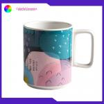 China Stoneware Printed Promotional Ceramic Travel Mug Tea Cups 420ML EEC Approval for sale