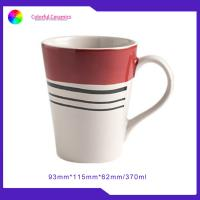 European Vogue Glazed Ceramic Coffee Mugs Red And White Stoneware Handprinting for sale