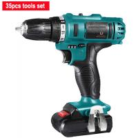 China Lithium Battery 21V Cordless Drill Tool Set 35 Pieces Variable Speed Quick Stop for sale