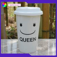 Portable Travel Mug Ceramic Coffee Cup Without Handle Smiling Face Pattern for sale
