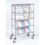 5 Layer Commercial Metal Storage Racks Company Display Chrome Slanted Shelving for sale
