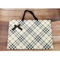 Luxury Check Pattern Reusable Kraft Paper Packaging Bags Big Size With Silk Ribbon for sale