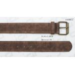 China Steel Roller Buckle With Embossed Mens Dress Belts In Brown PU In Width Of 39mm manufacturer