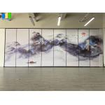 Decorative Landscape Painting Movable Wooden Acoustic Fabric Panels Divider for sale