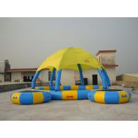 Blue And Yellow 8m Diameter Kids Inflatable Pools With Trampoline UV Protected for sale