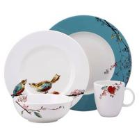 China Customized White Porcelain China Dinnerware Sets With Bird And Flower Decal Printing for sale