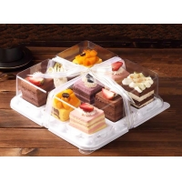 PS Base Clear 9pcs Disposable Durian Square Cake Trays for sale