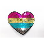 Multicolor Heart Logo Sequin Embroidery Patches Sequin Sew On Patches for sale