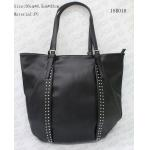 Big Size Casual Female Black PU Tote Bag With Nickel Metal Studs , Customized Logo for sale