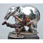 Modern Outdoor Metal Figure Sculpture , Stainless Steel Animal Sculpture for sale