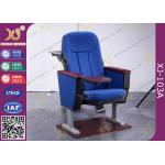 China Anti Stain Fabric Material Auditorium Chairs With Normal Iron Leg Box And Table for sale