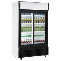 China 610L upright double sliding door auto frost fan cooling display beverage cooler/glass door chiller/beverage showcase for sale