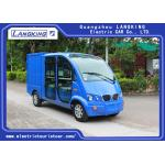 China Blue Color Electric Patrol Car 4kW DC Motor Driven Battery Powered Carry Van With Enclosed Cargo Box for sale