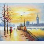 China Hand Painted Paris Oil Painting Acrylic  Scenery Building Eco Friendly For Wall Deco for sale