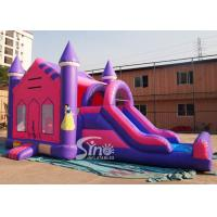 China 4in1 pink kids party inflatable princess bounce house with slide from Guangzhou Inflatable factory for sale