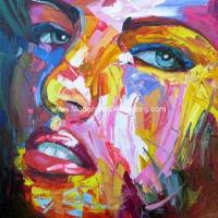 Large Thick Oil Palette Knife Oil Painting  woman canvas Colorful female abstract for sale
